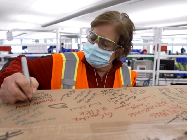 B-roll footage of employees at Ventec Life Systems and General Motors prepare the first VOCSN critical care ventilators for shipping and delivery, with messages of thanks to frontline medical professionals.